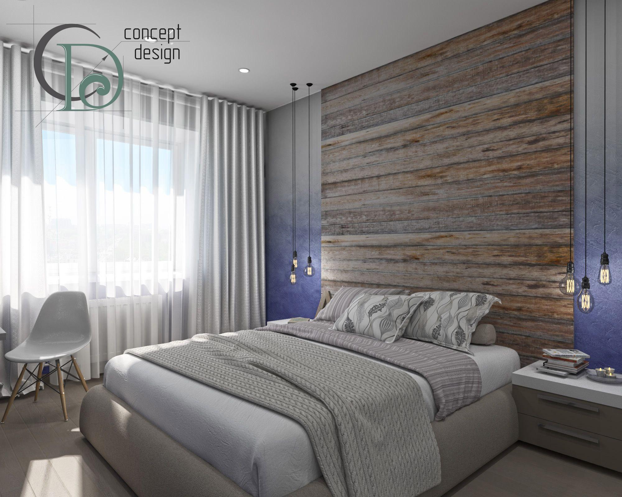 Спальня с элементами стиля лофт. Выкрас стен с эффектом омбре. Деревянная панель в изголовье